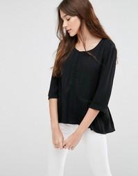 Блузка с плиссированной кромкой See U Soon - Черный