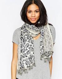 Легкий шарф с цветочным узором пейсли Yumi - Темно-синий