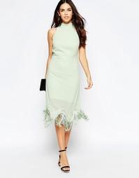 Платье с халтером и бахромой по кромке Style London - Зеленый