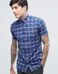 Клетчатая рубашка на пуговицах с короткими рукавами и карманом Minimum - Темно-синий