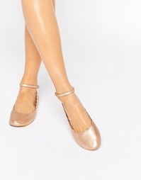 London Rebel Rose Gold Scallop Edge Ankle Strap Ballerina - Медный