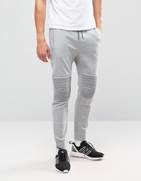 Трикотажные джоггеры с манжетами и отделкой на коленях Only & Sons - Серый