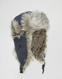 Шапка-ушанка с искусственным мехом Threadbare - Синий