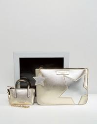 Чехол со звездами цвета металлик и брелок для ключей с миниатюрной сумочкой в подарочной упаковке Carvela - Золотой