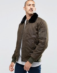Куртка-пилот с искусственным мехом на воротнике Carhartt WIP Stanley - Зеленый