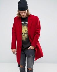Красное пальто из смесовой шерсти ASOS - Красный