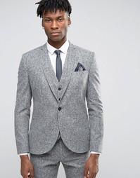 Зауженный пиджак из твида в крапинку Noak - Серый