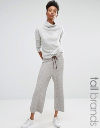 Вязаная юбка‑брюки с контрастной завязкой Noisy May Tall - Серый
