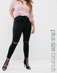 Missguided Plus Vice High Waisted Super Stretch Ripped Knee Skinny Jean - Черный