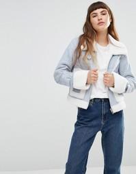 Куртка-авиатор из искусственной овечьей шерсти Urbancode - Синий