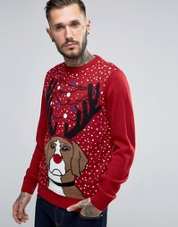 Рождественский джемпер с собакой и светящимся дизайном Threadbare - Красный