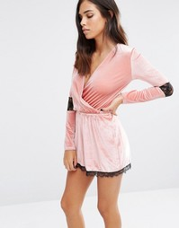 Love & Other Things Velvet Playsuit With Wrap Front And Lace Trim - Розовый