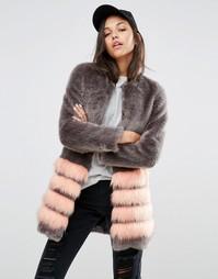 Шуба из искусственного меха в полоску Unreal Fur Tundra - Серый