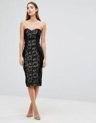 Платье миди в стиле бандо с кружевом металлик Paper Dolls - Черный