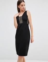 Платье миди со вставками в полоску Rare - Черный