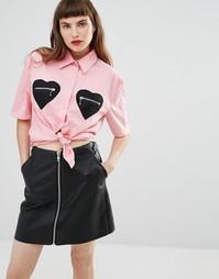 Рубашка с карманами в форме сердца Love Moschino - Розовый