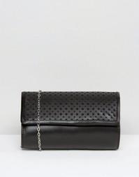 Кожаный клатч с перфорацией Lotus Cellini - Черный