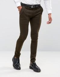 Супероблегающие брюки цвета хаки в стиле милитари ASOS - Зеленый