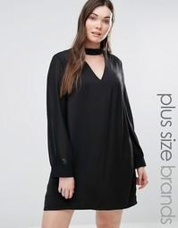 Цельнокройное платье с полупрозрачными рукавами и воротником Alice & You - Черный
