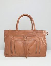 Кожаная сумка Pieces - Коричневый