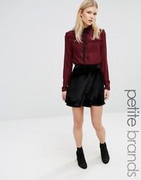 Boohoo Petite Velvet Skater Skirt - Черный