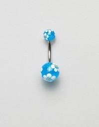 Пирсинг для пупка с цветочным принтом Kingsley Ryan - Серебряный
