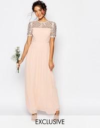 Шифоновое платье макси с отделкой Maya - Розовый