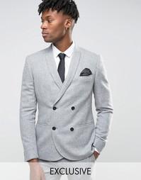 Зауженный фланелевый пиджак Noak - Серый