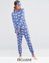 Подарочный набор с пижамой и маской для сна Chelsea Peers Christmas Naughty Sprouts - Фиолетовый