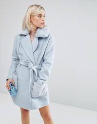 Строгое пальто с искусственным воротником Lost Ink - Синий