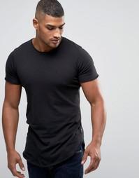 Супердлинная футболка с закругленным низом Jack & Jones - Черный