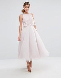 Кружевное платье миди Coast Astoria - Розовый