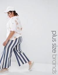 Полосатые брюки с широкими штанинами Boohoo Plus - Мульти
