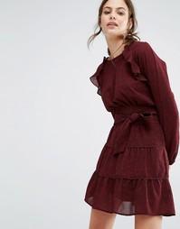 Свободное платье с оборками и принтом Ba&sh - Красный Ba&Sh