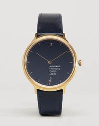 Часы с темно‑синим ремешком Mondaine Helvetica No1 - 38 мм - Темно-синий