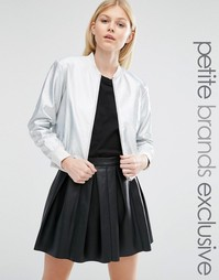Куртка-пилот с эффектом металлик Glamorous Petite - Серебряный