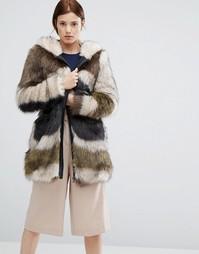 Меховое пальто с капюшоном и абстрактным принтом Urbancode - Зеленый
