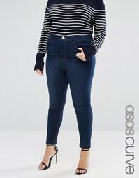 Темные джинсы с завышенной талией ASOS CURVE Ridley James - Синий
