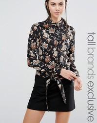 Блузка с цветочным принтом и узлом спереди Fashion Union Tall - Мульти