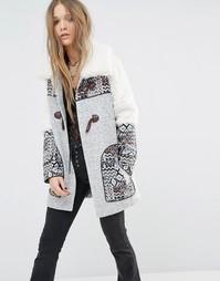 Пальто с принтом и пуговицей моржовый клык Moon River - Серый