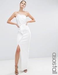 Платье-бандо макси из органзы ASOS TALL RED CARPET - Кремовый