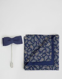 Платок для пиджака с принтом и булавка на лацкан Devils Advocate - Темно-синий