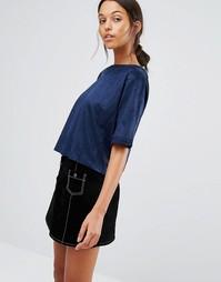 Укороченная футболка из искусственной замши Love & Other Things - Синий
