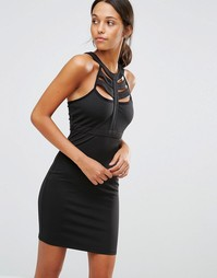 Облегающее платье с решеткой из лямок Love & Other Things - Черный