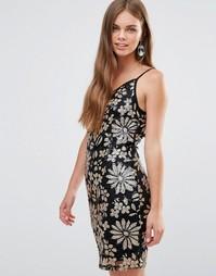 Платье-футляр на бретельках с цветочным принтом Love & Other Things - Черный
