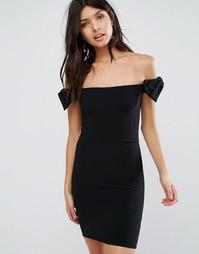 Платье мини с открытыми плечами и бантиками Oh My Love - Черный