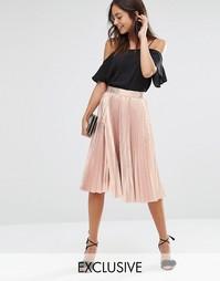 Плиссированная юбка миди цвета металлик Closet - Золотой