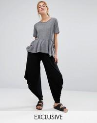 Черные брюки в стиле casual свободного кроя Stitch & Pieces - Черный