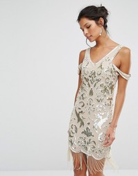 Платье мини с бахромой и бисерной отделкой Frock and Frill Premium - Мульти