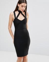 Облегающее платье с перекрестными лямками Rare - Черный